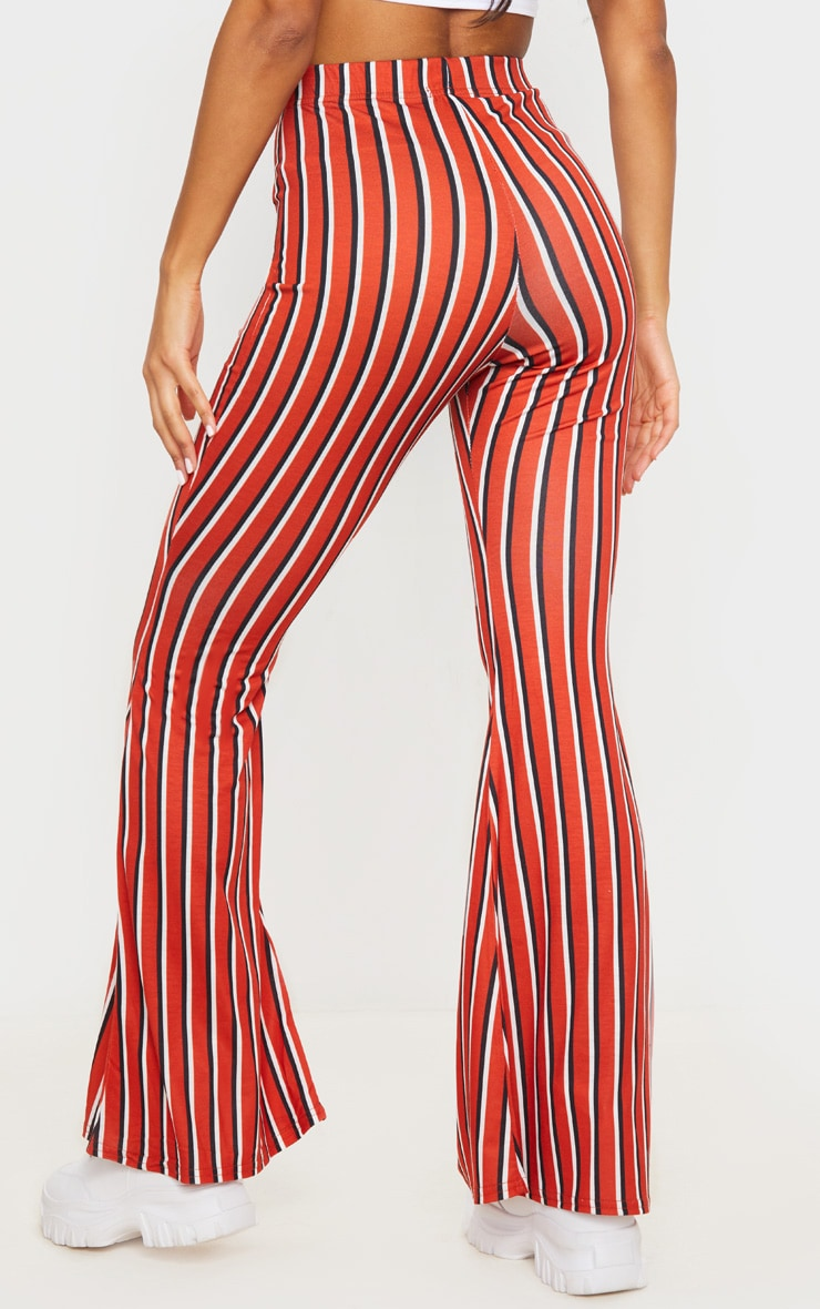 Red Jersey Vertical Stripe Flared Pants 3