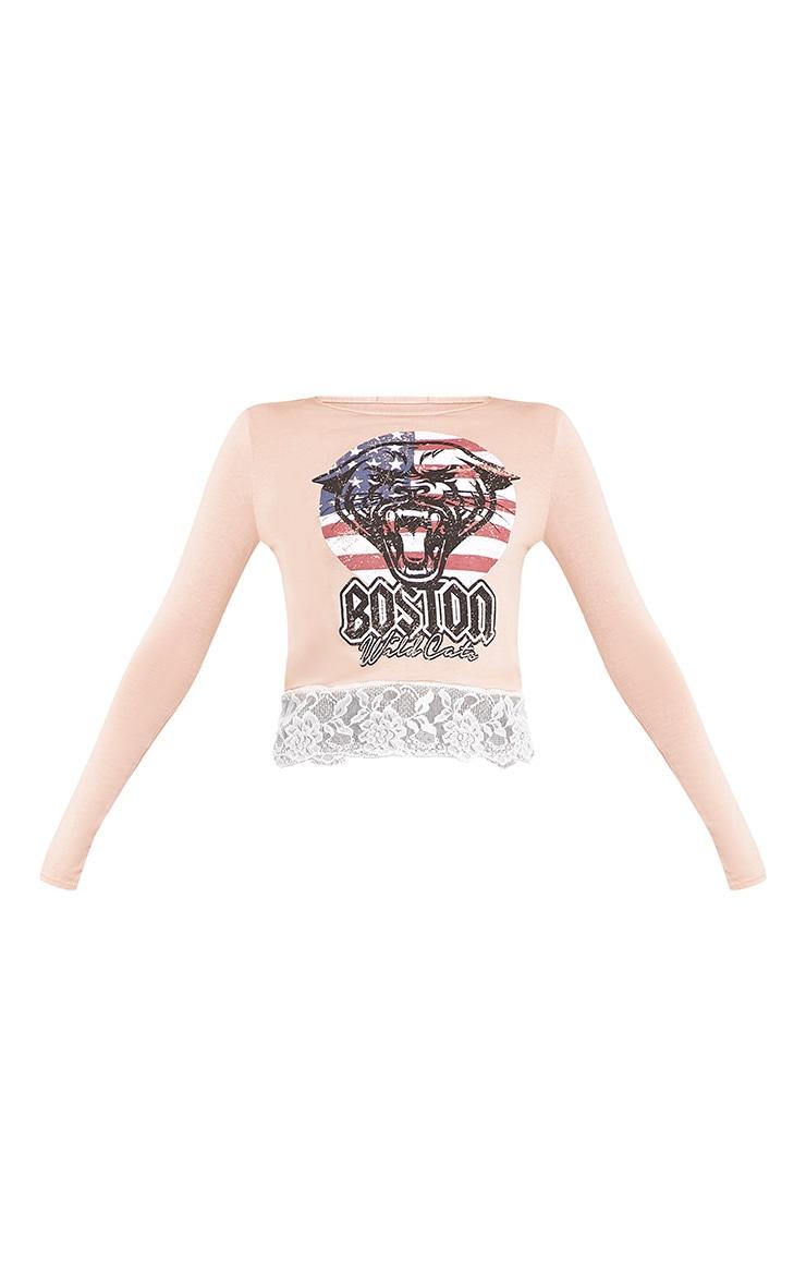 Boston Nude Tiger Print Lace Trim Crop Top  3