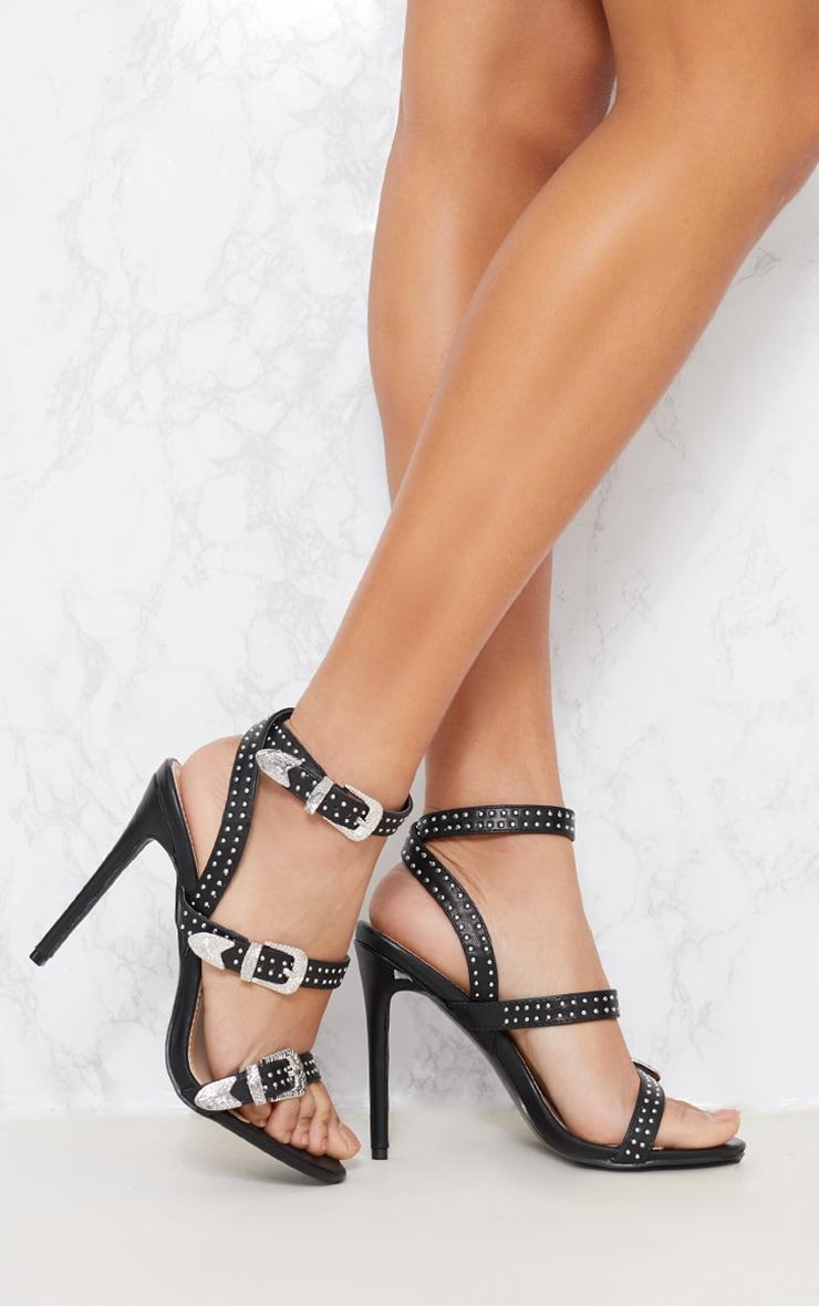 Black Studded Western Buckle Heel Sandal 1