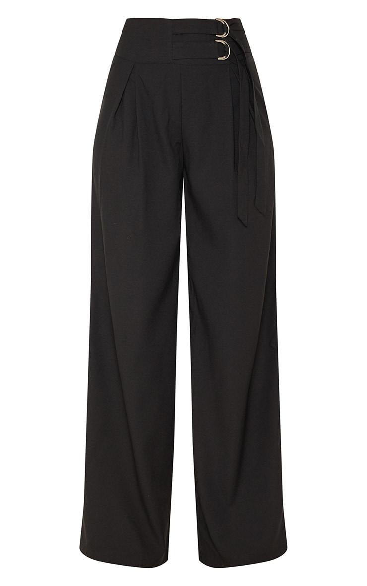 Black D Ring Buckle Wide Leg Trouser 3