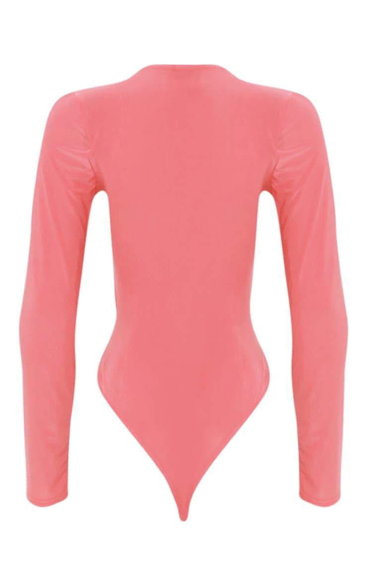 Sadie Coral Slinky Wrap Thong Bodysuit 4