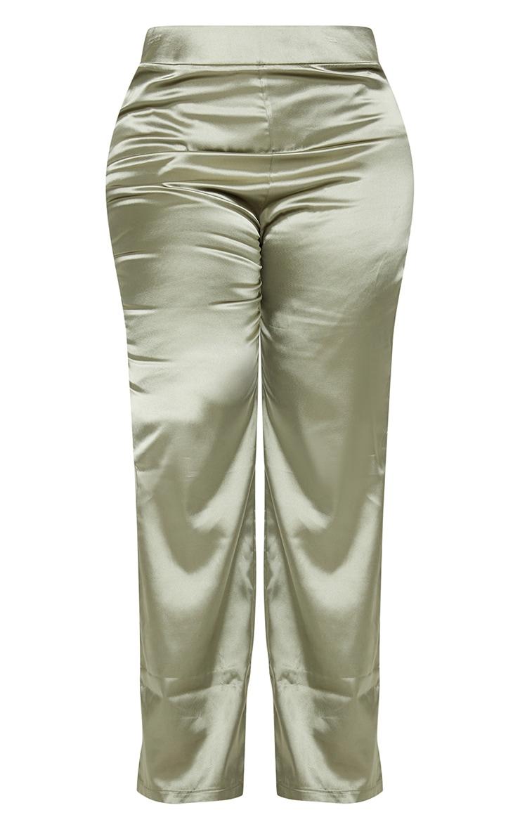 Plus Olive Satin Wide Leg Trousers 5