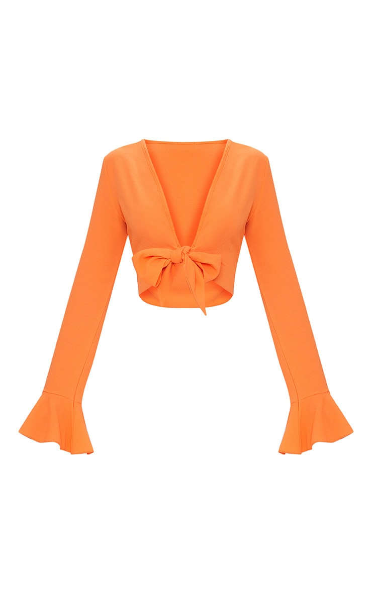 Tangerine Tie Front Frill Sleeve Blouse  3