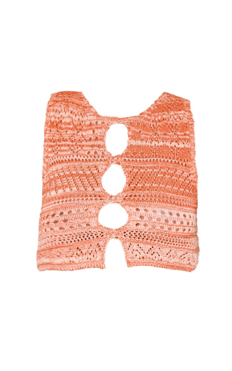 Orange Crochet Cut Out Top 5