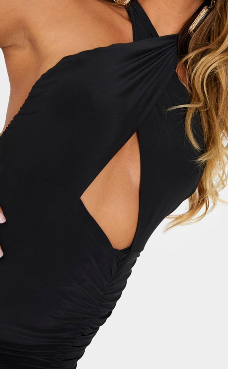 Black Slinky Halterneck Plunge Ruched Bodycon Dress 4