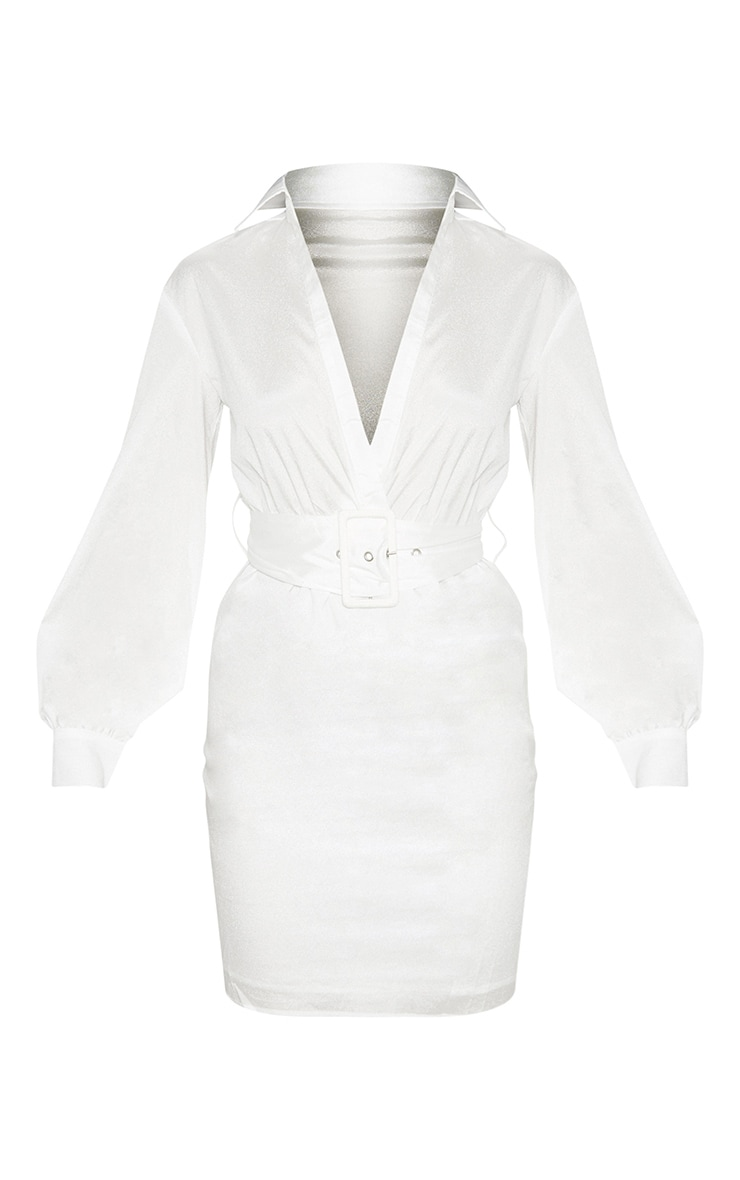 White Plunge Belted Shirt Dress 3