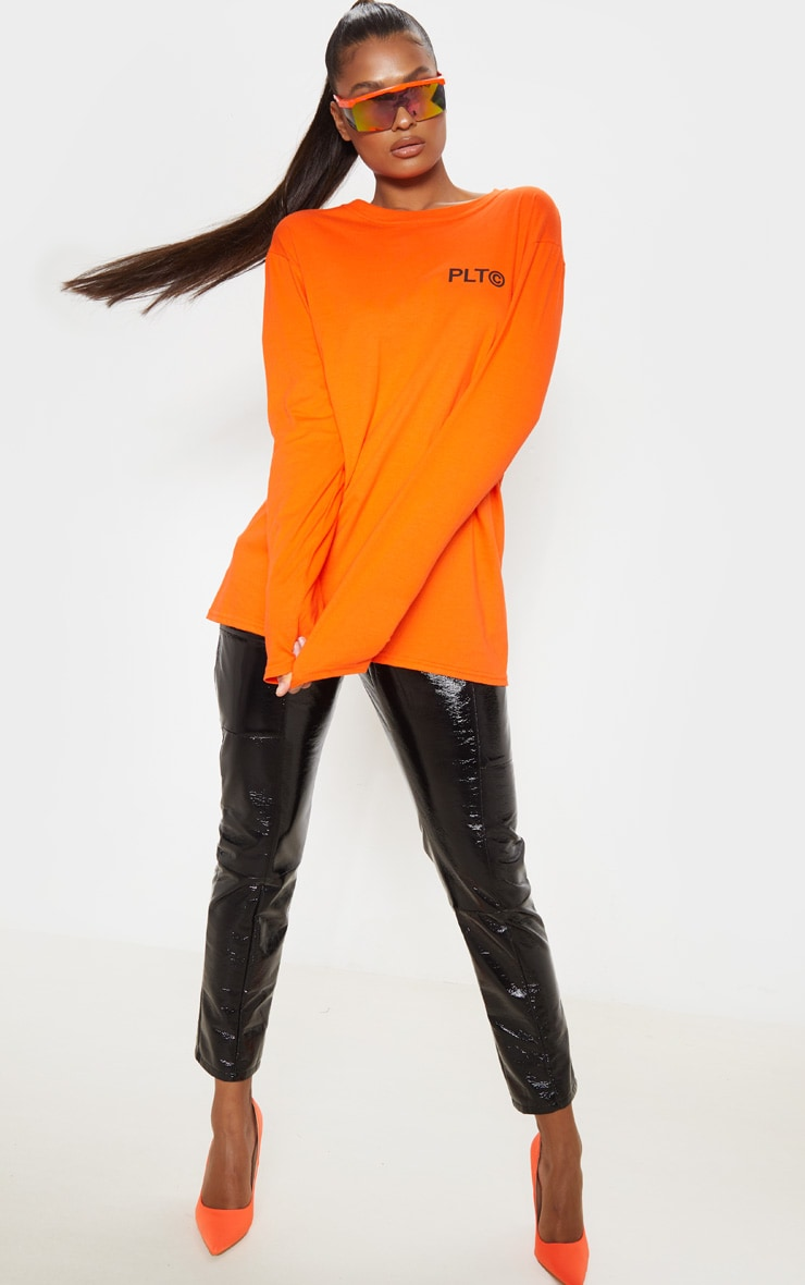 PRETTYLITTLETHING Orange Official Slogan Long Sleeve T Shirt 5