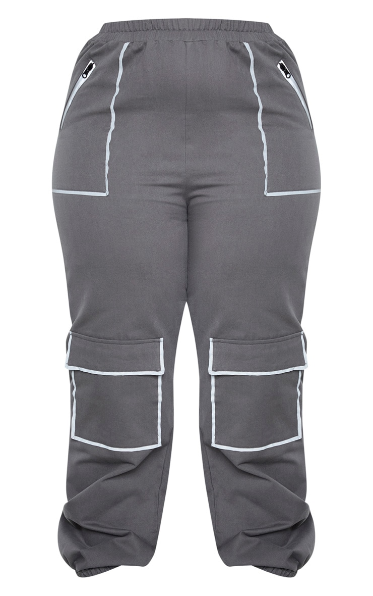 Plus Charcoal Contrast Seam Detail Cargo Track Pants 3