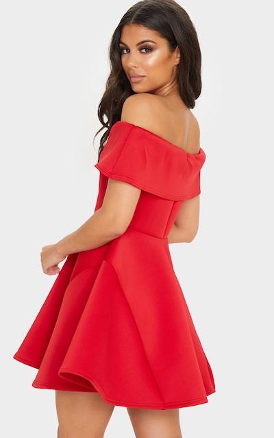 Red Bonded Scuba Bardot Skater Dress