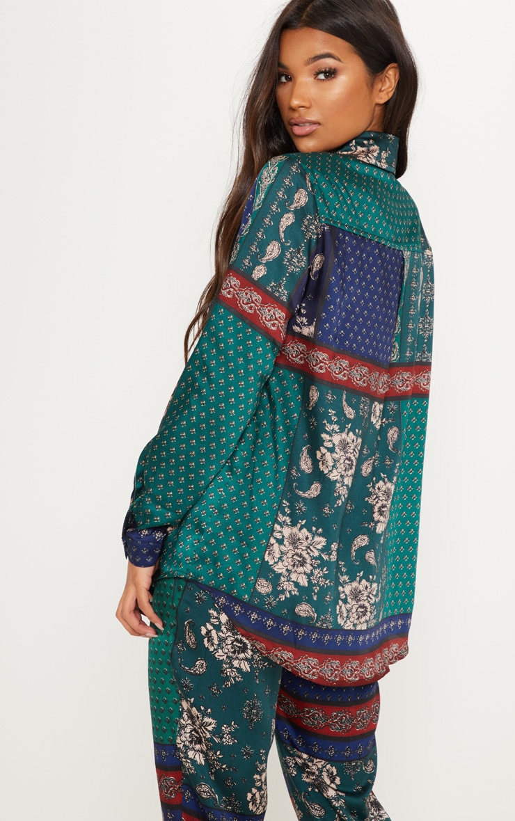 Multi Paisley Print Oversized Shirt 2
