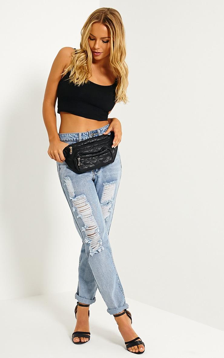 Brooke Black Quilted Bum Bag 2