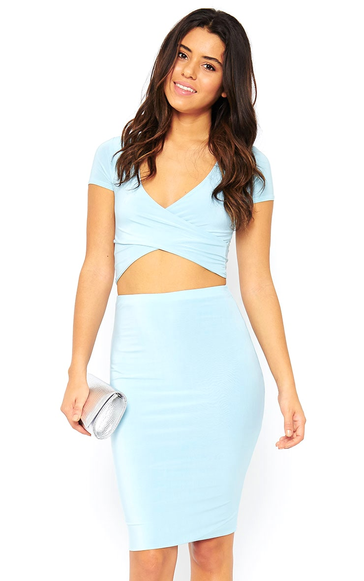 Arabella Powder Blue Slinky Midi Skirt 1