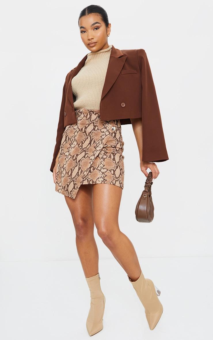 Brown Snake Print Wrap Mini Skirt 1