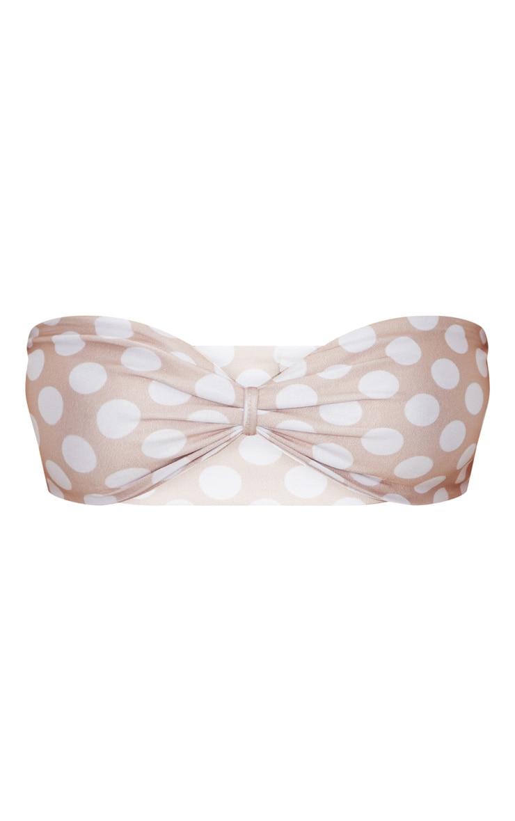 Nude Polka Dot Bow Bikini Top 3
