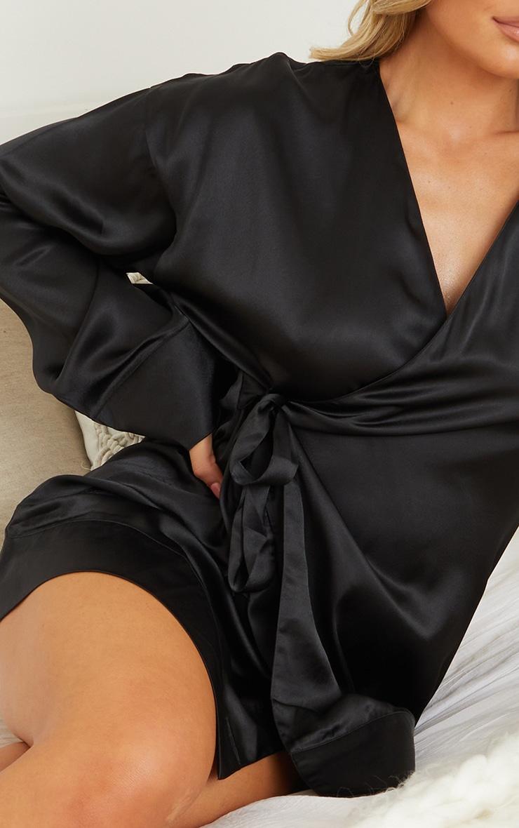 Black Kimono Side Tie Satin Robe 4
