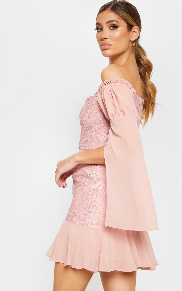 Rose Lace Puff Sleeve Frill Detail Bodycon Dress  2