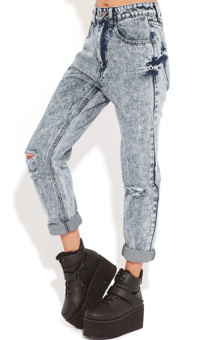 Frankie Acid Wash Ripped Mom Jeans 4