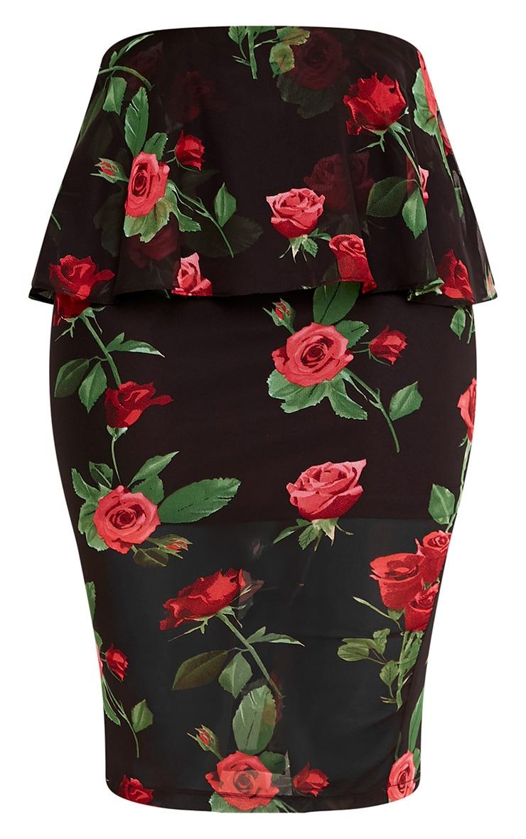 Jayne Black Frill Waist Dark Floral Midi Skirt  3
