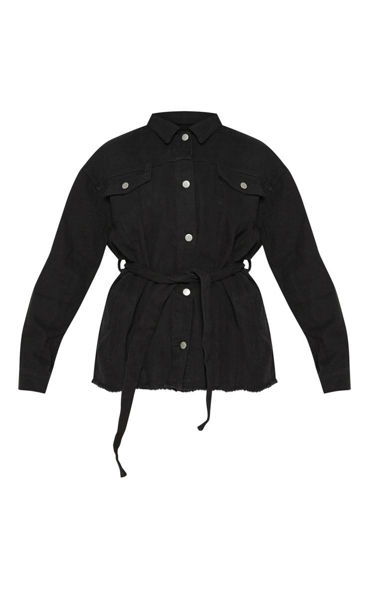 Black Tie Waist Oversized Denim Jacket 3
