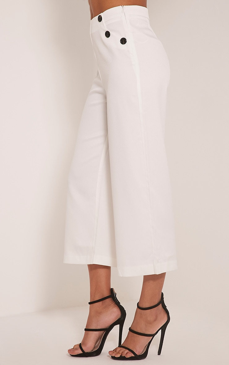 Sabine Cream Button Detail Culottes 3