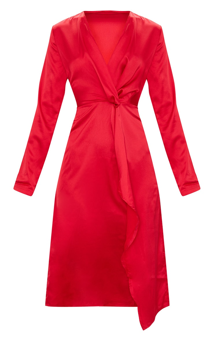 Red Satin Long Sleeve Wrap Midi Dress Prettylittlething