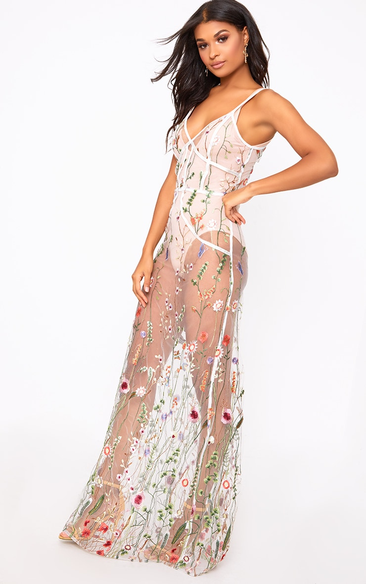 White Embroidered Mesh Maxi Dress  2