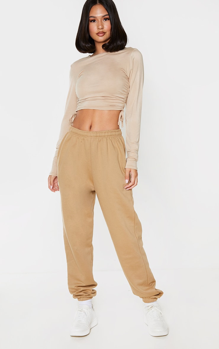 Toffee Jersey Ruched Side Long Sleeve Top 3