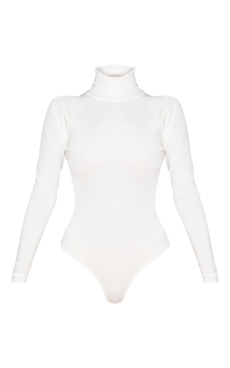 White Seamless Roll Neck Bodysuit 3