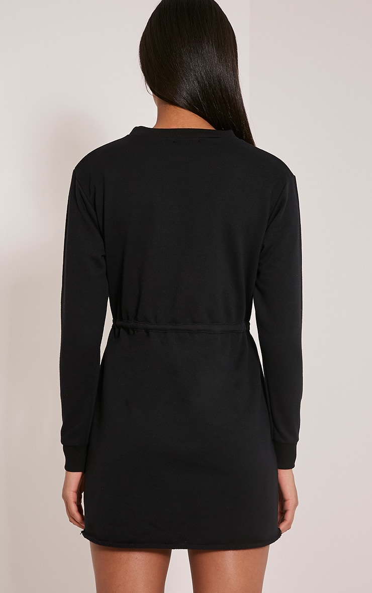 Demmi Black Tie Waist Sweater Dress 2