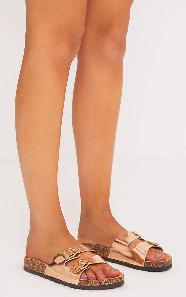 Adena Rose Gold Metallic Double Strap Sandals 3