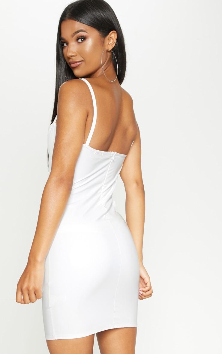 White Vinyl Cup Detail Bodycon Dress 2