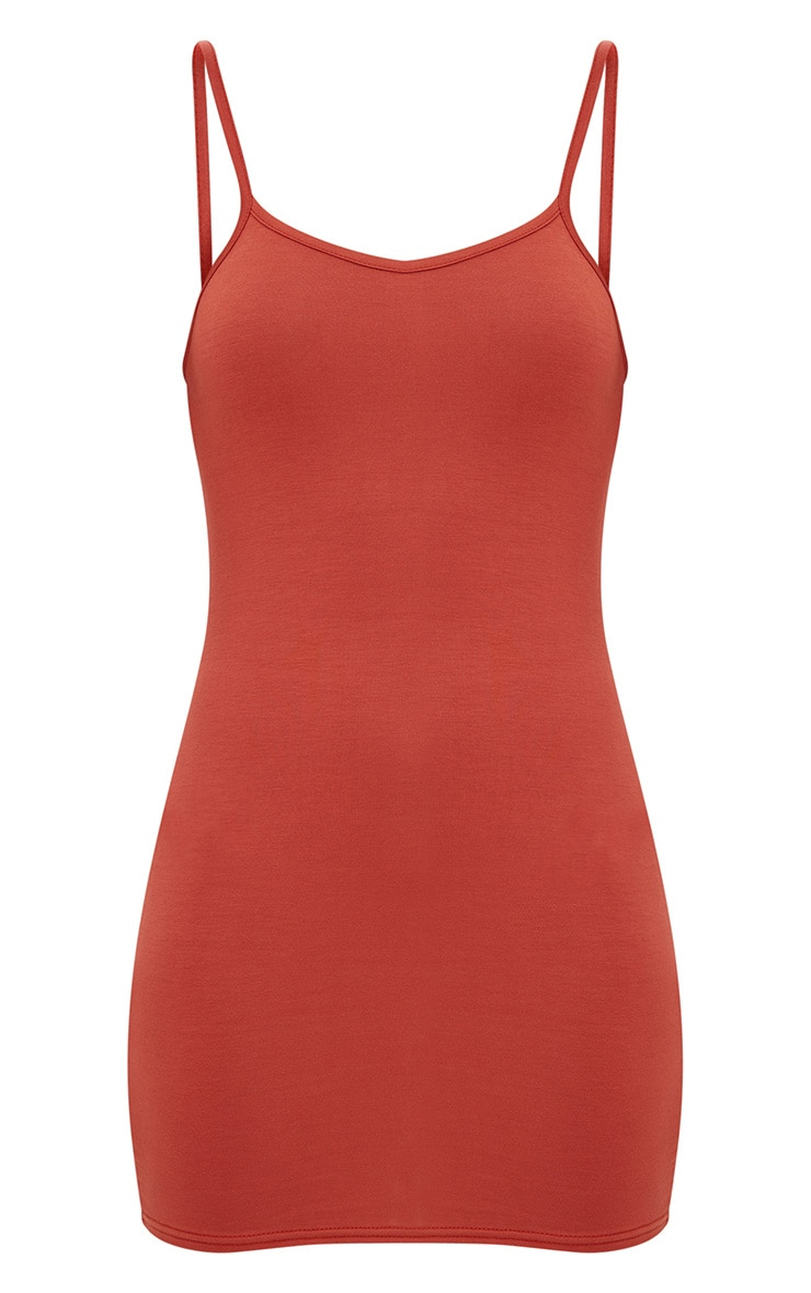 Burnt Orange Strappy Bodycon Dress 3