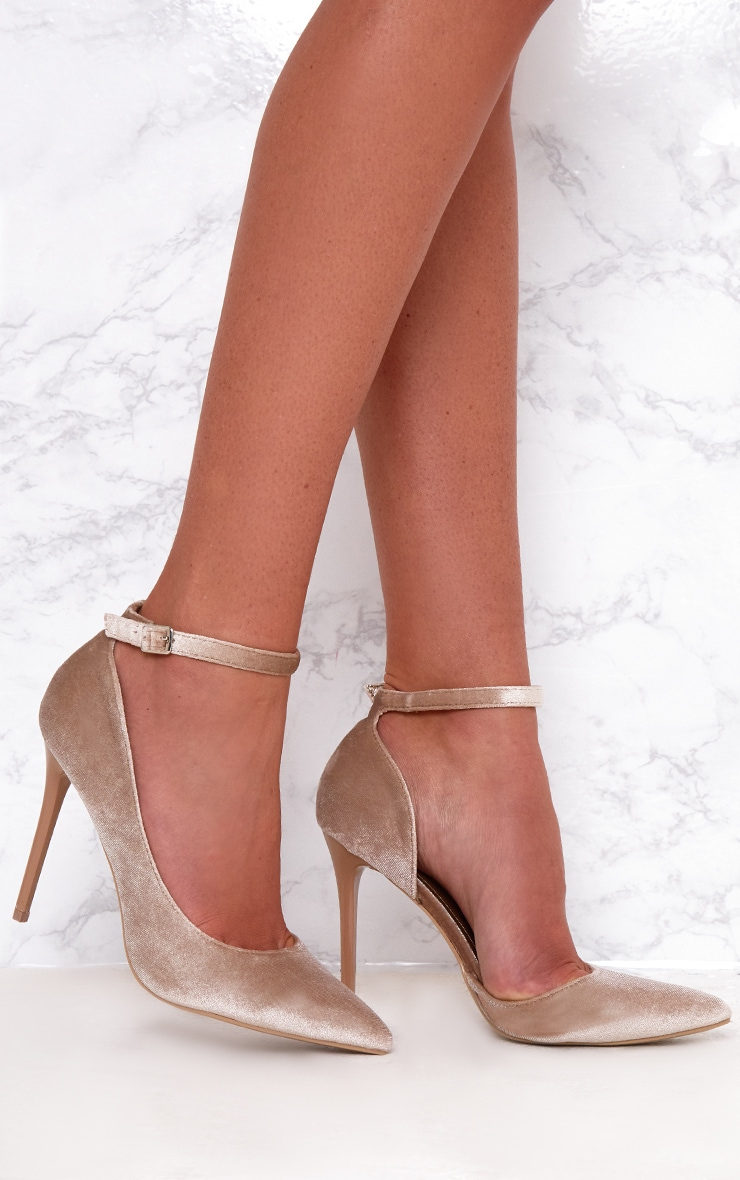 Beige Velvet Ankle Strap Pointy Heels 1