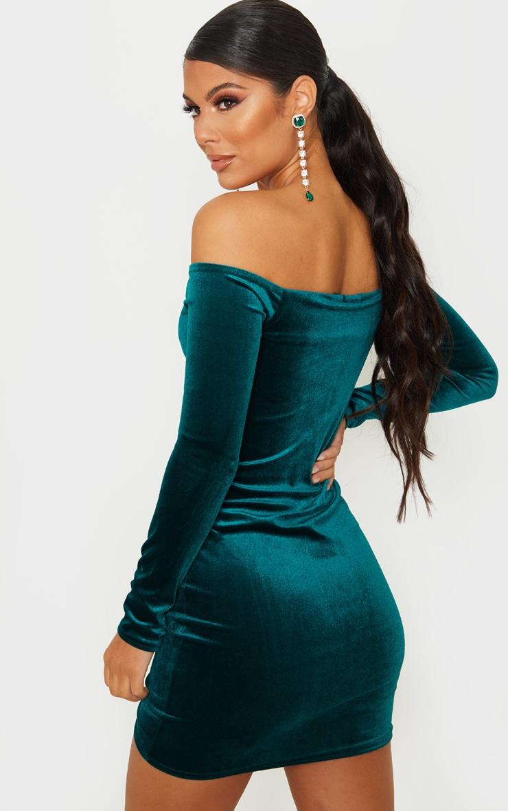 Emerald Green Velvet Bardot Ruched Long Sleeve Bodycon Dress 2