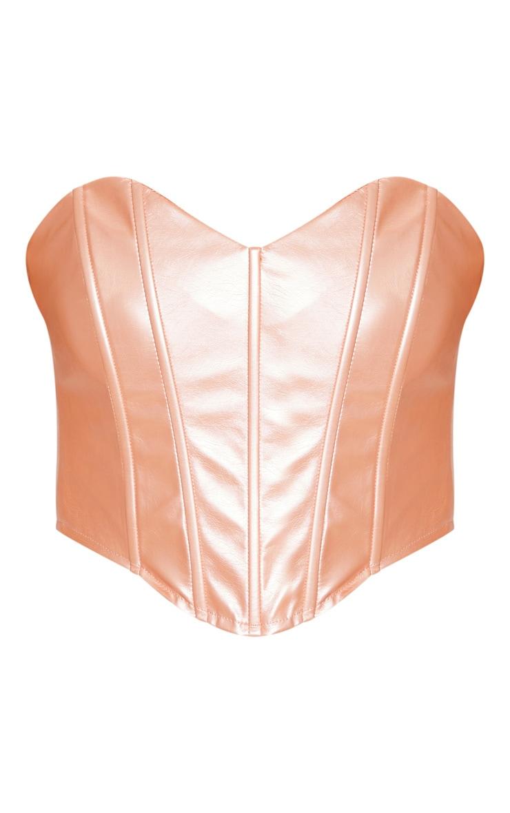 Rose Gold Metallic PU Sweetheart Neckline Curved Hem Corset 3
