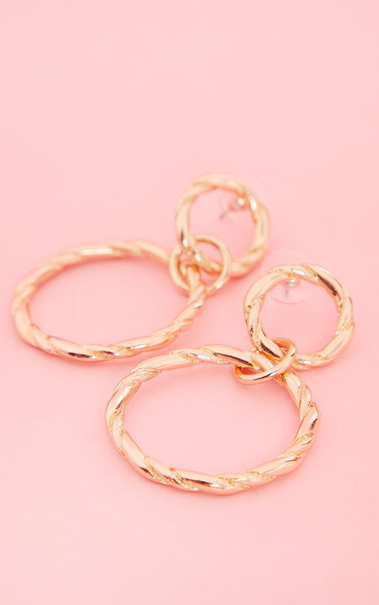 Gold Double Twist Hoop Earrings 2