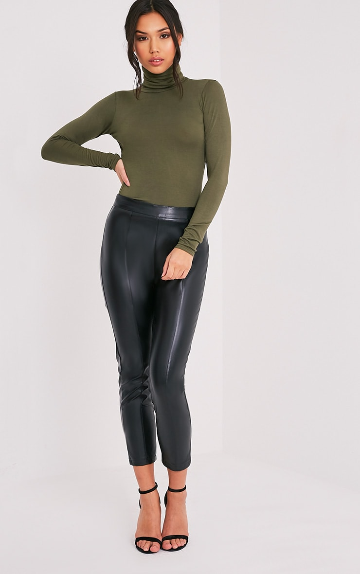Basic Khaki Long Sleeve Roll Neck Top 5