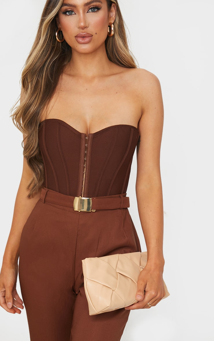 Nude Oversized Weave Clutch Bag 3