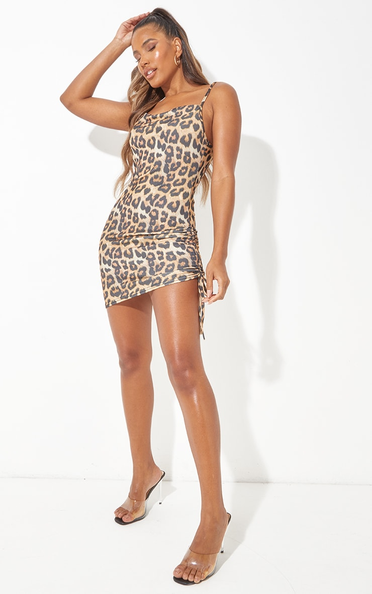 Tan Cowl Neck Leopard Print Ruched Side Bodycon Dress 4
