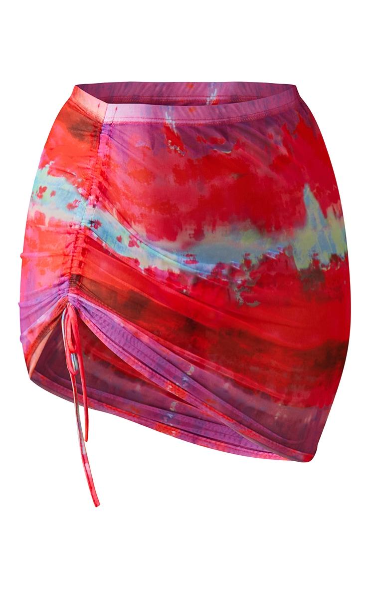 Plus Multi Printed Ruched Mesh Mini Skirt 6