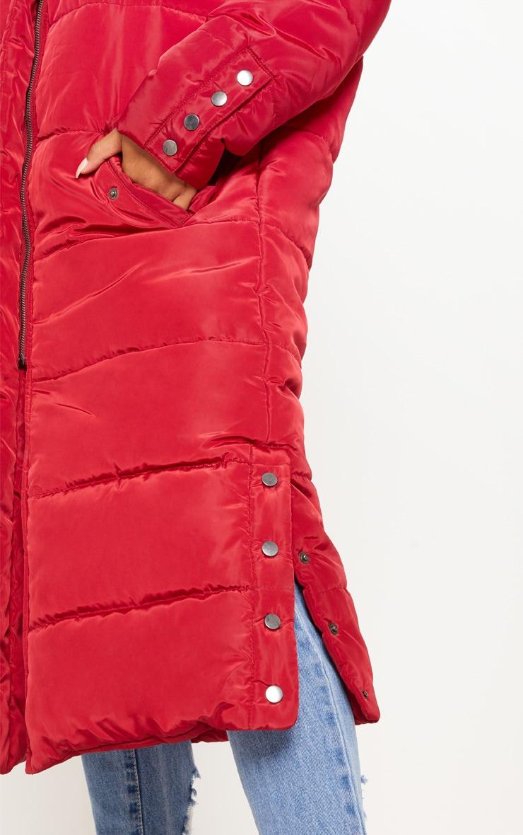 Burgundy Longline Puffer Jacket 4