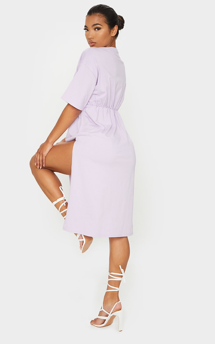 Lilac T Shirt Split Detail Midi Dress 2
