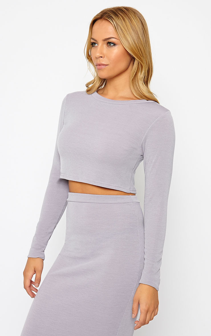 Basic Grey Long Sleeve Premium Ribbed Crop Top 4