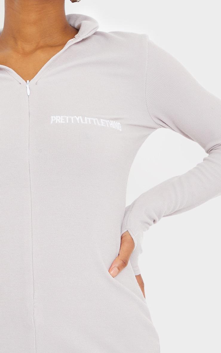 PRETTYLITTLETHING Petite Grey Soft Rib Long Sleeve Zip Bodycon Dress 4