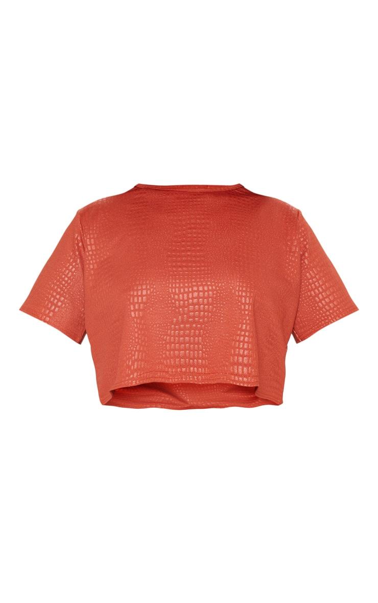 Plus Rust Textured Short Sleeve Crop Top  3