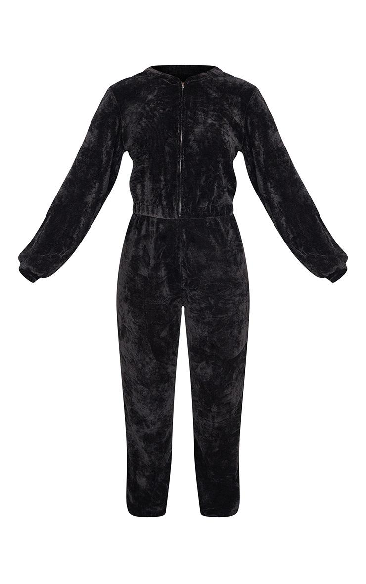 Black Ribbed Velour Hooded Jumpsuit 5