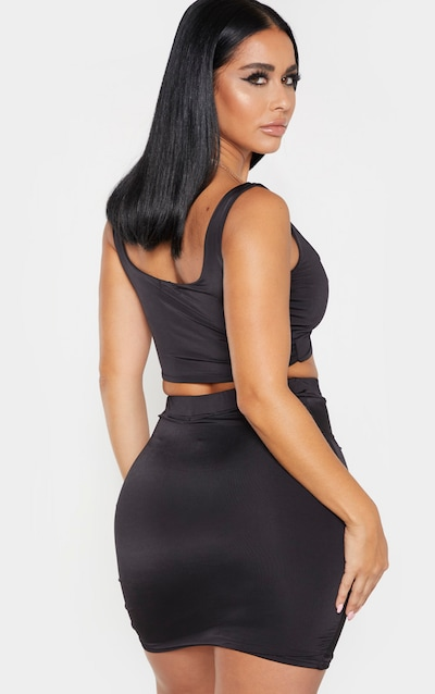 Shape Black Ruched Strappy Crop Top