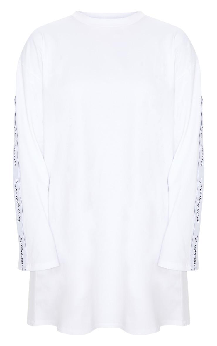 Robe t-shirt blanche à manches longues à slogan PRETTYLITTLETHING 3