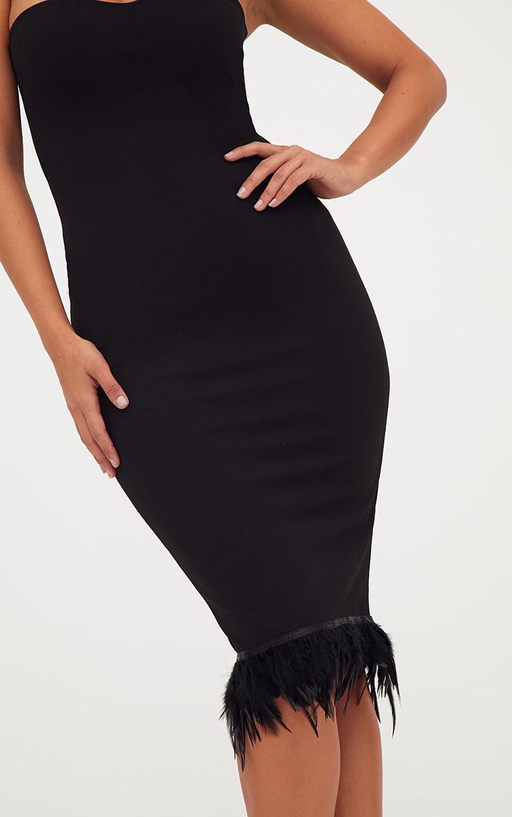 Black Bandeau Feather Hem Midi Dress 5