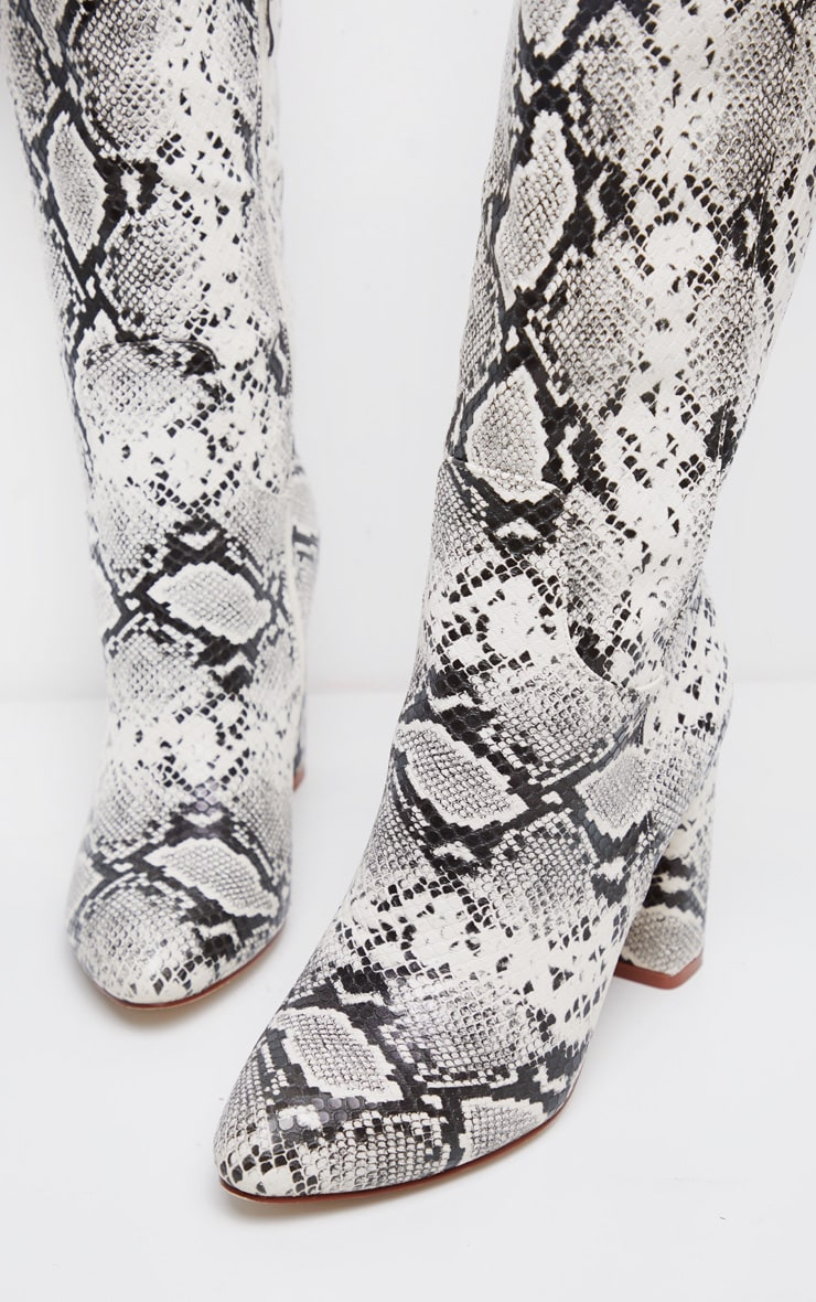 Snake Block Heel Knee Boot 3